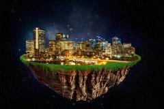 Fantasie Drijvend Eiland van de Stad van Calgary bij Nacht Stock Foto's