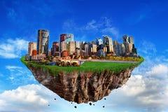 Fantasie Drijvend Eiland van de Stad van Calgary bij Zonsondergang Royalty-vrije Stock Fotografie