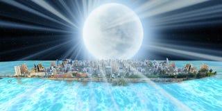 Fantasie Dschidda über Meer nachts mit Mondstrahl stockbild