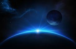 Fantasie-Erde und Mond mit Sonnenaufgang Lizenzfreies Stockfoto