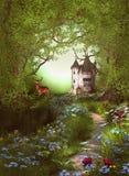 Fantasie Forest Way Castle Stock Foto's