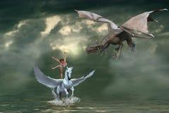 Fantasie-geflügeltes Pegasus-Pferd mit Tänzer und Drachen stockbilder