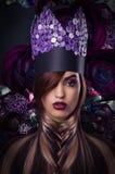fantasie Gestileerde Vrouw in Fantastische Headwear royalty-vrije stock foto's