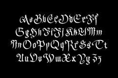 Fantasie Gotische Doopvont Retro uitstekend alfabet Douanetype brieven op donkere achtergrond Voorraad vectortypografie Stock Afbeeldingen