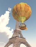 Fantasie-Heißluft-Ballon und Eiffelturm vektor abbildung