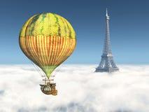 Fantasie-Heißluft-Ballon und Eiffelturm lizenzfreie abbildung
