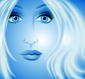 Fantasie-Kunst-Frauen-Gesichts-Blau lizenzfreie abbildung