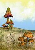 Fantasie-Land mit Pilzen Stockbild
