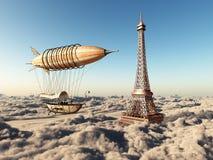 Fantasie-Luftschiff und Eiffelturm über den Wolken vektor abbildung