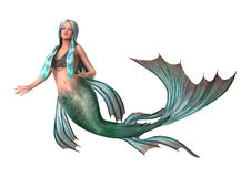 Fantasie-Meerjungfrau auf Weiß stock abbildung