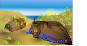 Fantasie op de strandbovenkant - onderaan huisboten stock foto's
