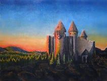 Fantasie-Schloss an der Dämmerung Lizenzfreies Stockbild