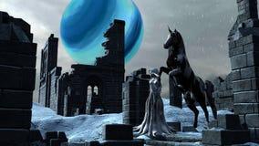 Fantasie-Schnee-Prinzessin Elf mit ihrem Unicorn Horse Lizenzfreie Stockfotografie