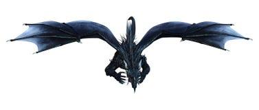 Fantasie-Schwarz-Drache der Wiedergabe-3D auf Weiß Lizenzfreie Stockbilder
