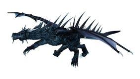Fantasie-Schwarz-Drache der Wiedergabe-3D auf Weiß Stockbild