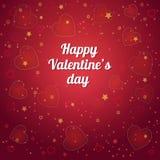 Fantasie-Valentinsgrußtagesromantisches Design auf einem königlichen roten Hintergrund Lizenzfreie Stockfotografie