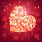 Fantasie-Valentinsgrußtagesromantisches Design mit niedrigem poligonal Juwelherzen Lizenzfreies Stockfoto