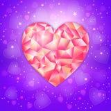 Fantasie-Valentinsgrußtagesromantisches Design mit niedrigem poligonal Juwelherzen auf einem ultravioletten Hintergrund Stockfotos