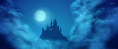 Fantasie-Vektor-Schloss-Mondschein-Himmel