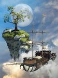 Fantasie vliegend schip en eiland Stock Afbeeldingen