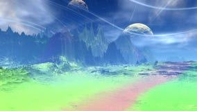 Fantasie vreemde planeet Rotsen en meer vector illustratie