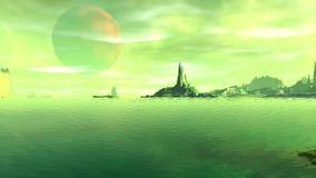 Fantasie vreemde planeet Rotsen en meer 3D animatie 4К vector illustratie