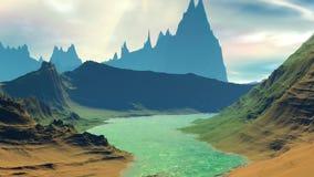 Fantasie vreemde planeet Rotsen en meer 3D animatie 4К stock illustratie