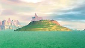 Fantasie vreemde planeet Rotsen en meer 3D animatie 4К royalty-vrije illustratie