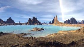 Fantasie vreemde planeet Rotsen en meer 3D Illustratie 4K stock illustratie