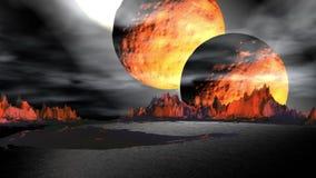 Fantasie vreemde planeet Rotsen en meer 3D Illustratie 4K royalty-vrije illustratie