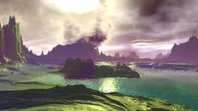 Fantasie vreemde planeet Rotsen en meer 3D Illustratie 4K vector illustratie