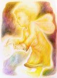 Fantasie weinig heldere het vliegen engel met feevleugels royalty-vrije illustratie