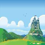 Fantasieachtergrond met kasteel vectorbeeldverhaal Royalty-vrije Stock Fotografie