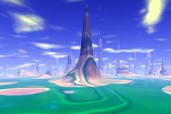 Fantasieausländerplanet Wiedergabe 3d Stockbild