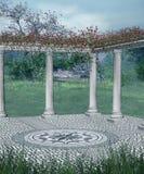 Fantasiebalkon mit roten Blumen Lizenzfreie Stockbilder