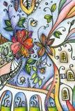 Fantasiebleistift-zeichnung von Blumen in der Stadt Stockfoto