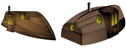Fantasiebovenkant - onderaan huisboot stock foto