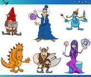 Fantasiecharakter-Karikatursatz Stockfotos