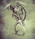 Fantasiedrache. Skizze der Tätowierungskunst, mittelalterliches Monster lizenzfreie abbildung