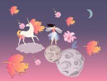Fantasiedruk Eenhoorn met manen in vorm van viburnumbladeren, feeballerina, roze bloemen, wolk, maan en planeten stock illustratie