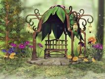 Fantasiegazebo en kleurrijke bloemen royalty-vrije illustratie
