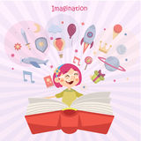 Fantasiekonzept, Mädchen, das ein Buch liest Stockfotos