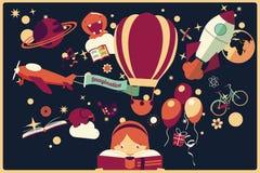Fantasiekonzept - Mädchen, das ein Buch mit Luftballon, Felsen liest Lizenzfreies Stockfoto