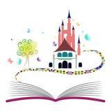 Fantasiekonzeptphantasiebuchschlossbaumschmetterlingsgeschichten-Mythos- Märchenbuch Lizenzfreies Stockfoto