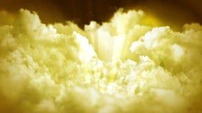 Fantasielandschaft auf bewölktem Himmel, weiße Rauchanimation, Schleifenhintergrund, stock abbildung