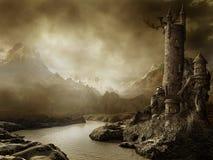Fantasielandschaft mit einem Kontrollturm Stockbild