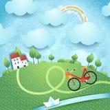 Fantasielandschaft mit Häusern, Fluss und Fahrrad Lizenzfreies Stockbild