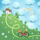 Fantasielandschaft mit Hügel, Dorf und Fahrrad Lizenzfreie Stockbilder