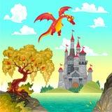 Fantasielandschaft mit Schloss und Drachen. Stockbild