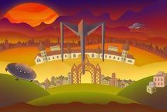 Fantasielandschaftsillustration Stockbilder